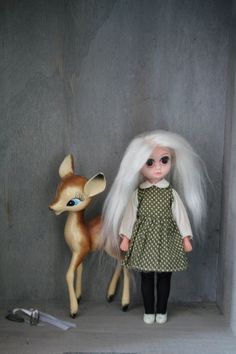Sale now -$50 off! Doll and Deer included  Little deer toy together with Vintage 1960s Susie Sad Eyes doll re-rooted by me in white Alpaca hair. Susies