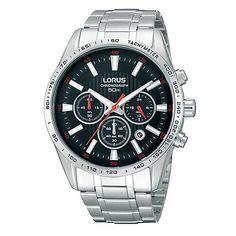 Lorus Men's Black Chronograph Dial Bracelet Watch- at Debenhams.com