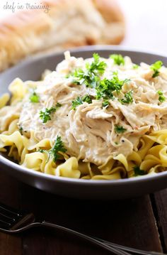 Slow Cooker Creamy Italian Chicken - This recipe is SO simple and packed with the most delicious flavor! It is perfect served over noodles or rice!