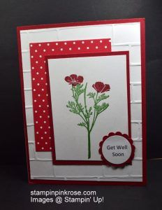 Stampin' Up! Get Well card made with Wild About Flowers tamp set. Send a cheery card. Designed by Demo Pamela Sadler. See more cards at stampinkrose.com and etsycardstrulyheart