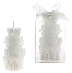 angel praying on carved pillar candle - white Case of 48