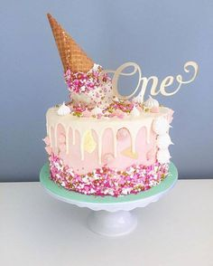 Happy birthday to little Sophie! Upside down icecream cone cake as requested by her fabulous mummy, Bek. Vanilla cake with passionfruit buttercream and white chocolate drip. Topper by the lovely Orginal cake design by Ice Cream Cone Cake, Ice Cream Party, Cream Cake, Ice Cream Birthday Cake, Happy Birthday Cake Topper, Birthday Cakes, Drippy Cakes, Bolo Cake, Girl Cakes