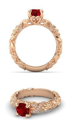 Round Ruby 14K Rose Gold Ring with Diamond | Knotted Bouquet Ring