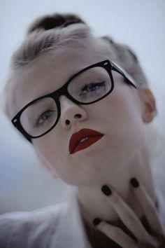 glasses, nails and lipstick