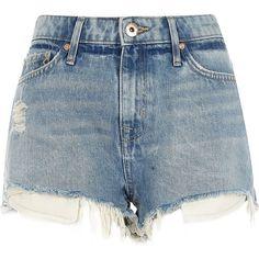 River Island Light blue wash mid rise ripped hot pants (185 BRL) ❤ liked on Polyvore featuring shorts, bottoms, blue, denim shorts, women, mini shorts, hot pants, ripped jean shorts, distressed jean shorts and short shorts