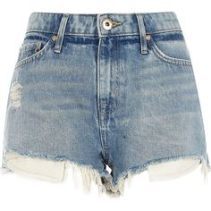 River Island Light blue wash mid rise ripped hot pants ($56) ❤ liked on Polyvore featuring shorts, short jean shorts, ripped shorts, jean shorts, distressed jean shorts and blue shorts