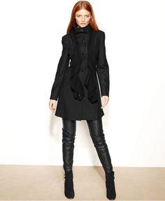Calvin Klein Coat, Wool-Blend Walker - Coats - Women - Macy's
