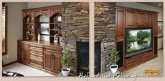 Two large Showplace designs frame a rustic, hand-built stone fireplace in the lower-level rec room. During construction, the cabinetry units were placed first, then the fireplace was built between them. The large entertainment center, creates an out-of-sight home for all the clutter that inevitably collects near the TV. Note how black speaker cloth was installed in cabinet doors, keeping speakers hidden while allowing full audio quality. Please visit http://www.showplacewood.com/ to learn…