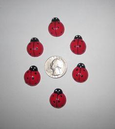 6 PC LADYBUG WITH FLOWERS RED BLACK LADYBUG FLATBACK FLAT BACK RESINS