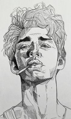 Boy with a cigarette, Me, Black pen, 2019 Cool Art Drawings, Pencil Art Drawings, Art Drawings Sketches, Portrait Sketches, Sketches Of Boys, Black Pen Sketches, Boy Sketch, Realistic Drawings, Black Pen Drawing