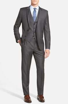HUGO 'Awart/Wiran/Hamen' Trim Fit-Three Piece Solid Wool Suit available at #Nordstrom