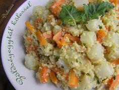 Dulmina tündérkonyhája: Zöldségegytál kölessel Potato Salad, Rice, Potatoes, Vegan, Ethnic Recipes, Food, Potato, Essen, Meals