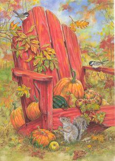 Donna Race ~ autumn ~ pumpkins ~ squirrel ~ falling leaves