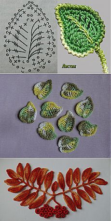 PICTURES ONLY - Crochet leaves (folhas), Irish Crochet leaves Snejana. crochet leaves - entire tutorial is here Appliques Au Crochet, Crochet Leaf Patterns, Crochet Leaves, Crochet Motifs, Crochet Diagram, Freeform Crochet, Crochet Chart, Thread Crochet, Crochet Designs
