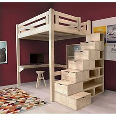 Alpage mezzanine bed with block staircase Make for Henry with Chris Mezzanine Design, Mezzanine Bedroom, Bedroom Loft, Bedroom Office, Diy Bedroom, Loft Bed Plans, Bunk Beds With Stairs, Bedroom Decor For Small Rooms, Awesome Bedrooms