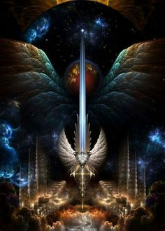 The Angel Wing Sword Of Arkledious Imperial Wings by Art Prophétique, Angel Warrior, Esoteric Art, Prophetic Art, Beautiful Fantasy Art, Anime Angel, Angel Art, Visionary Art, Psychedelic Art
