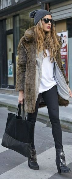 Fake fur jacket - combines with boots, skinny jeans and basic white top (or more elegant)