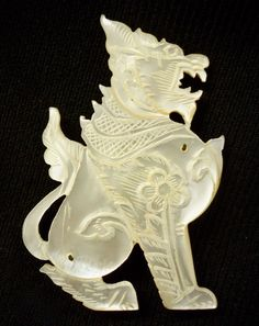 Antique Chinese Carved Dragon Brooch Mother Of Pearl