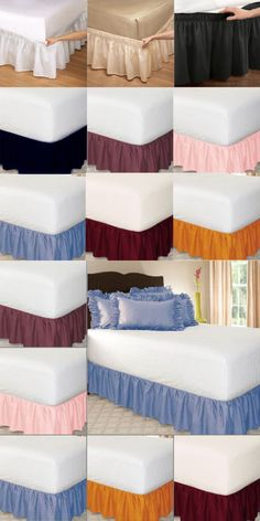 A bedskirt or dust ruffle is a decorative covering that is placed under a mattress and over a box spring. The skirt hangs to the floor to cover and hide whatever may be under the bed. Home Decor Bedroom, Diy Home Decor, White Bed Skirt, Bed Cover Design, Designer Bed Sheets, Bed Wrap, Bed Skirts, Bed Curtains, Curtain Designs