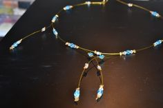 collier cable doré et perles / necklace made of golden cable and pearls