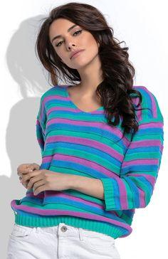 Fobya F516 sweter w paski miętowy Wygodny sweter w kolorowe paski,  klasyczny fason, sweter z dekoltem V Pullover, Fashion, Moda, Fashion Styles, Sweaters, Fasion, Sweater