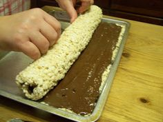 Rice Krispy Rollups- Never lasts long at a party!!