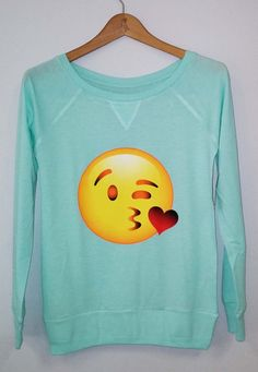 Hey, I found this really awesome Etsy listing at https://www.etsy.com/listing/184045170/long-sleeve-emoji-kiss-women-shirt
