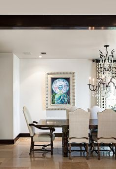 A modern take on a spanish Hacienda's formal dining room. Look at that chandelier! Gottesman Residential Real Estate   Austin