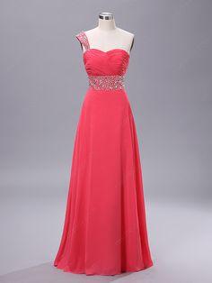 A-line One Shoulder Chiffon Floor-length Rhinestone Prom Dresses at Msdressy