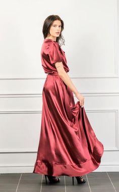 Red Silk Dress, Ruffle Dress, Dress Skirt, Silk Satin, Satin Fabric, Beautiful Long Dresses, Asymmetrical Dress, Satin Dresses, Flutter Sleeve