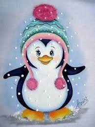 Resultado de imagem para pinguino pintura em tecido