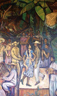 """Fragmento del mural """"Gente y paisaje de Michoacán"""" Alfredo Zalce, 1962, Palacio de Gobierno de Michoacán, Morelia"""