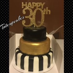 30th Birthday Cake- Black White and Gold - Great Gatsy Party Cake