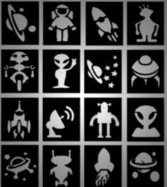 16 x space aliens rockets and robots boys glitter tattoo stencils - Stencils For Boys