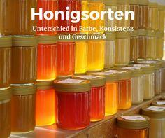 Honigsorten mit unterschiedlicher Farbe, Konsistenz und anderem Geschmack