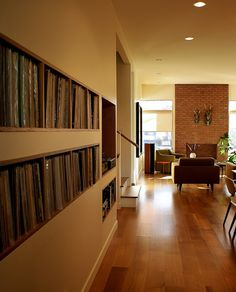 Built in shelves for large Record Collection. Built in shelves for large Record Collection. Lp Storage, Vinyl Storage, Storage Design, Lps, Vinyl Shelf, Record Shelf, Record Display, Vinyl Record Collection, Vinyl Room