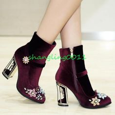 Shiny Rhinestone Floral Womens Grace Suede Side Zip Block High Heel Boots Shoes