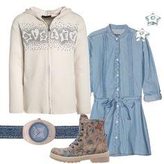Un outfit che piacerà alla nostra ragazza composto da vestito in jeans, collo alla coreana, bottoni sul fronte, cintura da annodare, abbinato a felpa Sisley beige, cappuccio, zip, strass. Stivaletto beige in fantasia floreale, orologio con cinturino in jeans, quadrante blu, orecchini a stella argentati.