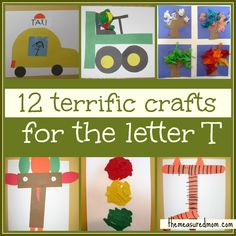 So many letter T crafts for preschoolers!  Fun stuff.