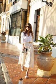Clean, Simple  Bright Street Style | Vintage Inspiration | Summer Ivory Midi Skirt | White Button Up