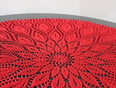 Big dark red round lace doily hand crochet table clothes