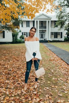 white fuzzy off the shoulder sweater