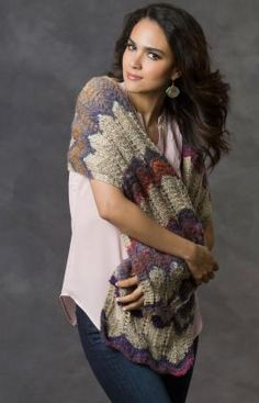 This intriguing shawl is easy to knit thanks to the amazing way that the yarn changes textures and color as you knit with it. You'll enjoy the way it makes an ordinary outfit become extraordinary. It's a nice gift idea, too!