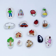 Story Stones General mix 1 by LittlebyNature on Etsy Stone Crafts, Rock Crafts, Arts And Crafts, Painted Rocks Craft, Story Stones, Hand Designs, Rock Art, Kids Playing, Storytelling