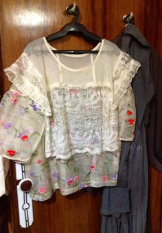 Machine embroidered & cut out on tulle to make lace-like kimona blouse Ilonggo style Philippines