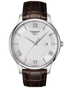 Tissot Men's Swiss Tradition Brown Leather Strap Watch 42mm T0636101603800 - Tissot - Jewelry & Watches - Macy's