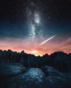 """Milky Way over Badlands National Park, South Dakota, USA. Photo by Jaxson Pohlman Photography"" Badlands National Park, National Parks, Landscape Photography, Nature Photography, Ciel Nocturne, Photos Voyages, To Infinity And Beyond, Milky Way, Night Skies"