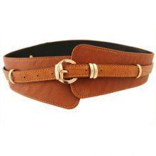 Elegant Alloy Buckle Wide Leather Belt For Women -- sweater dresses