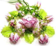 JOPANDA lampwork Glass Beads handmade - Roses Set Pink Romantic