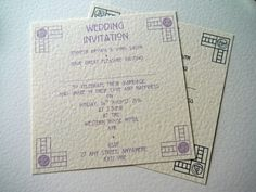 Charles Rennie Mackintosh Corner Design Wedding or Evening Invitation - LEA Handcrafted Wedding Stationery & Jewellery